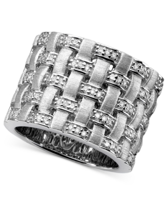 Sterling Silver Ring, Diamond Basket Weave (1/4 ct. t.w.)