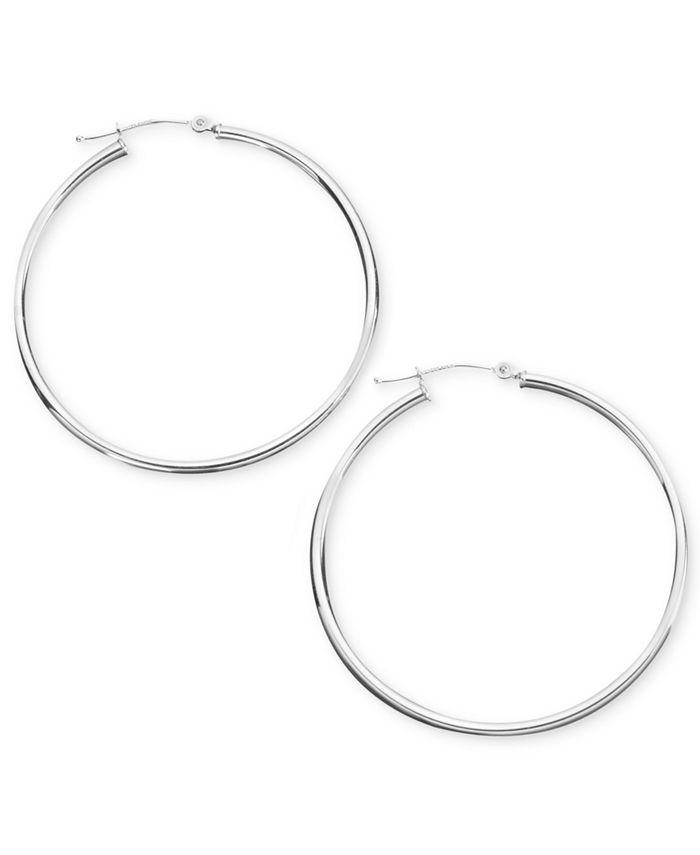 Macy's - 14k White Gold Hoop Earrings