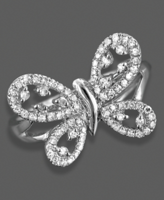 14k White Gold Ring, Diamond Butterfly (1/4 ct. t.w.) - Cocktail Ring