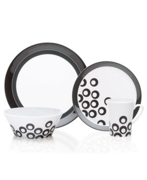 Mikasa Dinnerware, Circle Chic Black 4 Piece Place Setting