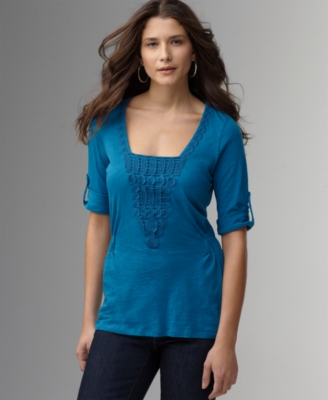 DKNY Jeans Top, Roll Sleeve Embellished Knit