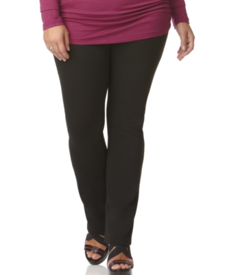 Necessary Objects Plus Size Pants, Slim Leg Ponte Knit