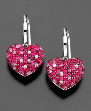 Effy Collection Sterling Silver Earrings, Pink Sapphire (1-1/2 ct. t.w.) and Ruby (1-3/8 ct. t.w.)