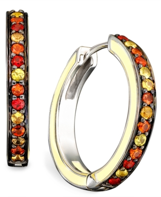 Sterling Silver Earrings, Multicolored Sapphire Hoop (1-3/8 ct. t.w.) - Hoop Earrings