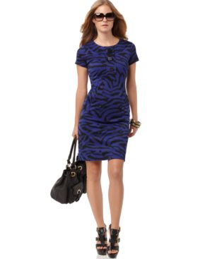 MICHAEL Michael Kors Dress, Short Sleeve Fitted Printed Ponte Knit