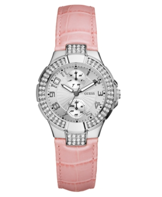 GUESS Watch, Women's Pink Leather Strap U10580L3