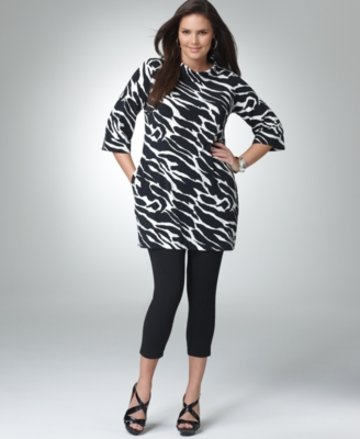 Alfani Plus Size Tunic, Zebra Print Funnel Neck