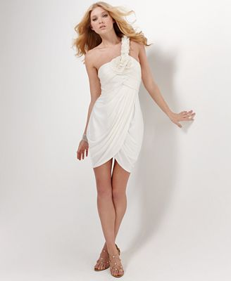 BCBGMAXAZRIA Dress, One Shoulder with Tulip Hem
