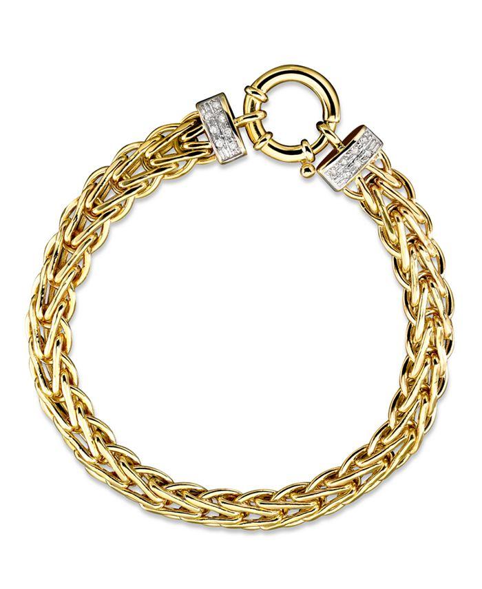 Italian Gold - 14k Gold Bracelet, Diamond Spiga (1/8 ct. t.w.)