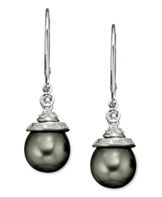 14k Gold and Sterling Silver Tahitian Pearl Earrings, Diamond Accent
