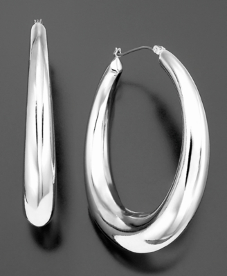 Betsey Johnson Earrings, Silvertone Hoops
