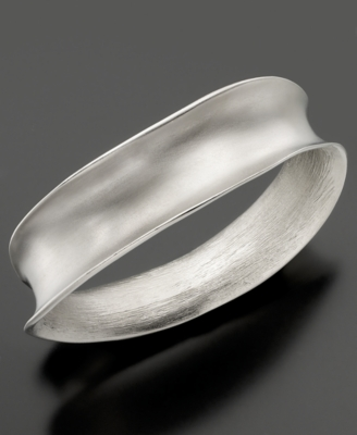 Kenneth Jay Lane Bracelet, Silvertone Asymmetrical Bangle - Bracelets