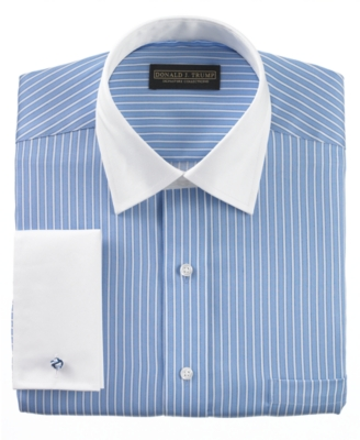 Donald Trump Dress Shirt, Non Iron Blue Stripe French Cuff