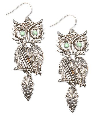 Lucky brand earrings silver tone shaky owl jewelry for Macy s lucky brand jewelry