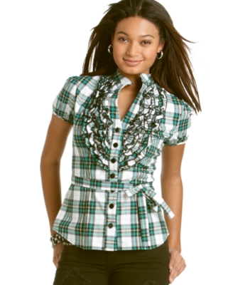 Baby Phat Top, Ruffle Button Down Shirt
