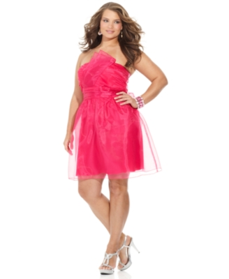Ruby Rox Plus Size Dress, Strapless Taffeta Prom Dress