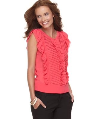 NY Collection Top, Sleeveless Ruffle Front