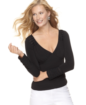 Studio M Petite Top, Long Sleeve Surplice V-Neck Knit