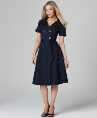 Jones New York Signature Dress, Short Sleeve Double Breasted A-Line Skirt