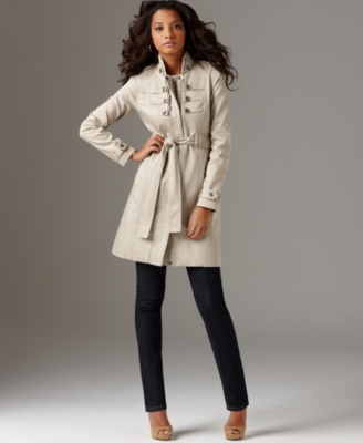 DKNY Jeans Petite Coat, Military Trench