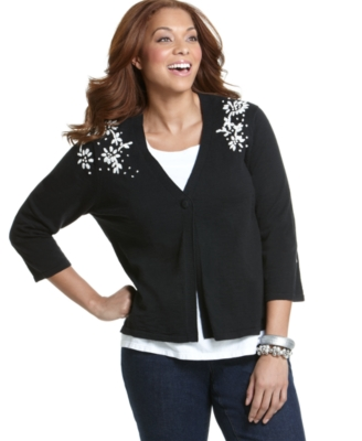 Charter Club Plus Size Sweater, Floral Embroidered Cardigan