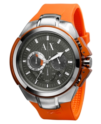 AX Armani Exchange Watch, Men's Orange Rubber Strap AX1070 - AX Armani Exchange