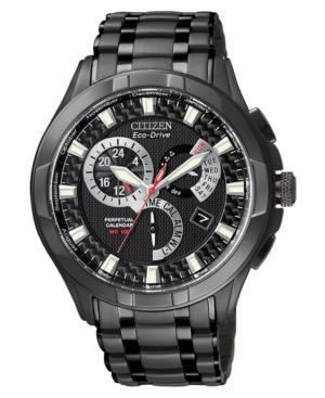 Citizen Men's Eco-Drive Black Stainless Steel Bracelet Watch 43mm BL8097-52E