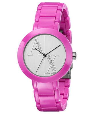 AX Armani Exchange Watch, Women's Pink Plastic Bracelet AX4057