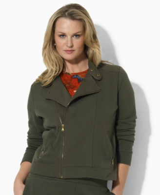 Lauren by Ralph Lauren Plus Size Jacket, Yessica Knit Motorcycle
