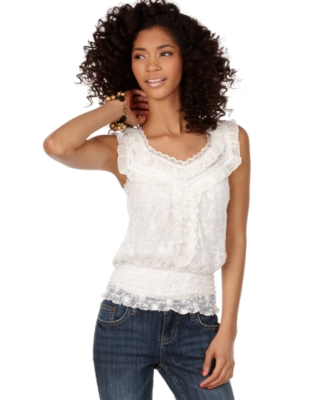 Amercan Rag Top, Sleeveless Lace Ruffle Peasant