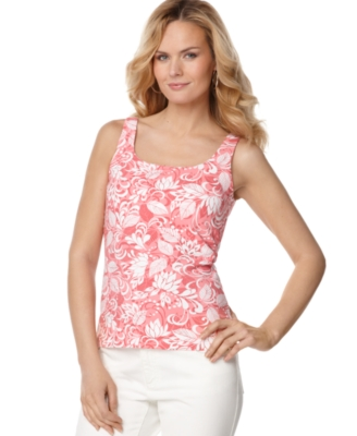 Karen Scott Tank Top, Palms Print