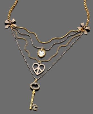 Betsey Johnson Necklace, Heart and Key