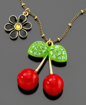 Betsey Johnson Necklace, Cherry - Oversized Pendant Necklace