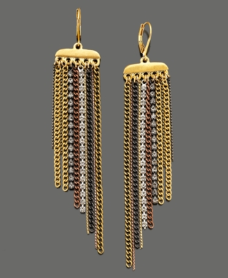 Kenneth Cole New York Earrings, Tri-Tone Drop