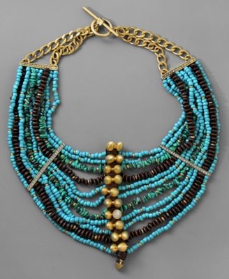 Rachel Rachel Roy Necklace, Beaded Goldtone Mixed Metal