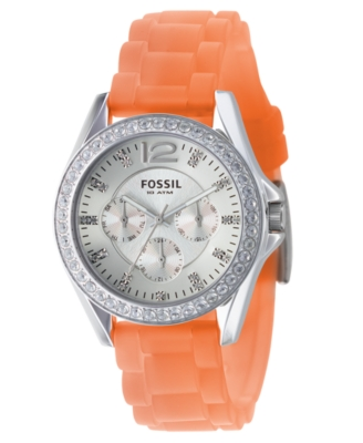 Fossil Watch, Women's Orange Silicone Strap ES2526