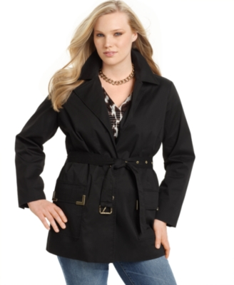 Michael Kors Plus Size Jacket, Short Belted Trench