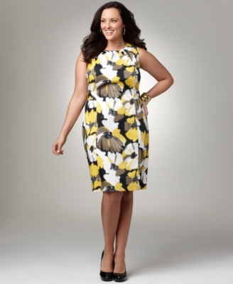 Alfani Plus Size Dress, Sleeveless Floral Sheath