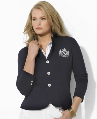Lauren by Ralph Lauren Plus Size Jacket, Balwyn Crested Knit
