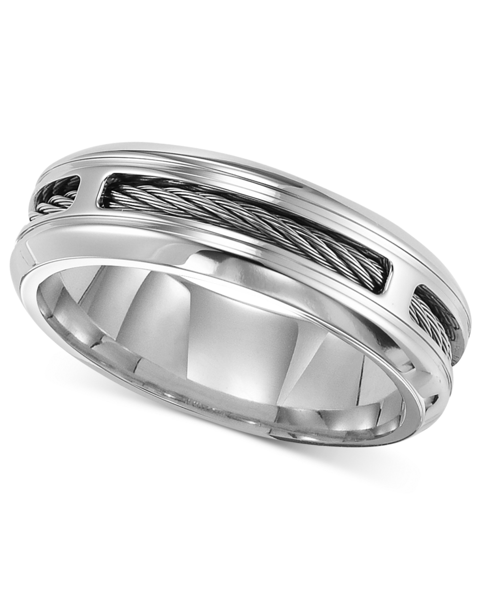 Triton Mens Stainless Steel Ring, Comfort Fit Cable Wedding Band   Rings   Jewelry & Watches