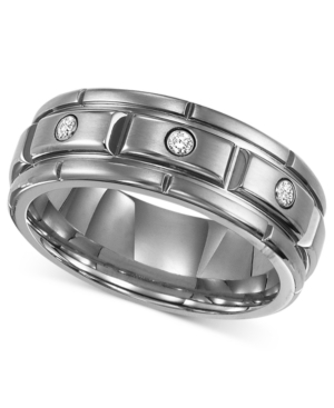Triton Men's Titanium Ring, Three Diamond Wedding Band (1/10 ct. t.w.)