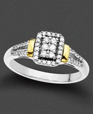 14k Two Tone Gold Ring, Diamond Bar (1/4 ct. t.w.)