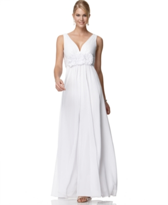 Adrianna Papell Dress, Sleeveless Rosette Gown