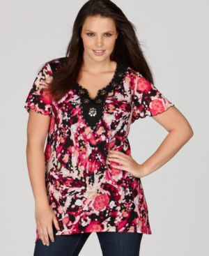 Style&co. Plus Size Top, Sequin Embellished Abstract Print Tunic - Style&co.