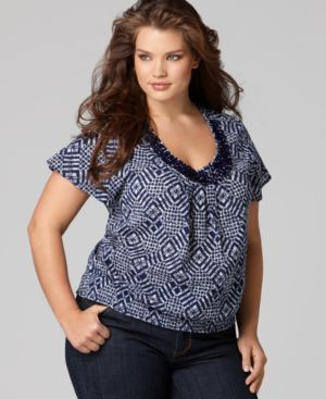 Style&co. Plus Size Top, Beaded Diamond Print Blouson