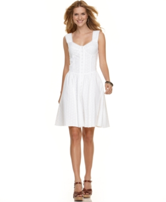 NY Collection Dress, Sleeveless Eyelet Corset Seamed