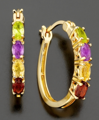 18k Gold Over Sterling Silver Earrings, Multi Stone Hoop (1-1/2 ct. t.w.)