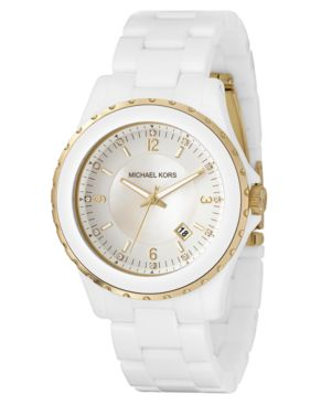 MICHAEL Michael Kors Watch, Women's White Acrylic Bracelet MK5249