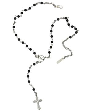 D&G Necklace, Beaded Silvertone Mixed Metal Cross - Jewelry