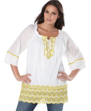 INC International Concepts Plus Size Top, Embroidered Gauze Peasant